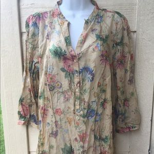 Zara basic. Floral long wrinkle top